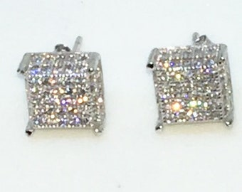 14k White Gold Layered Cube shaped CZ on 925 Solid Sterling Silver Stud Earrings ( 8 . 5 mm )