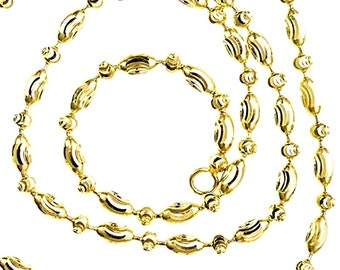 """14K Yellow Gold layered on 925 Silver diamond cut Moon Oval Chain / Necklace - 2mm 22"""""""