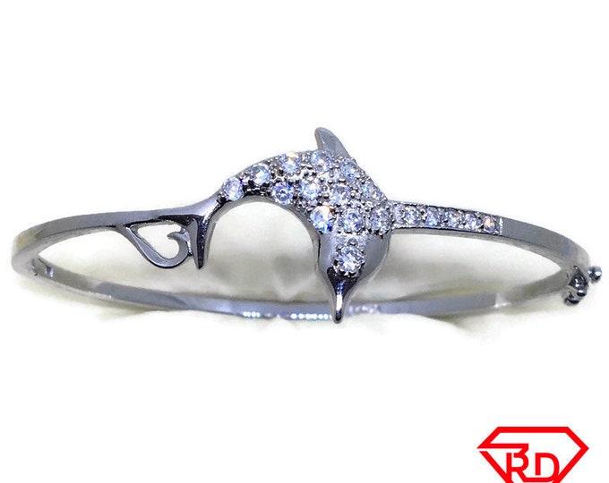 Round CZ dolphin bangle bracelet white gold layer