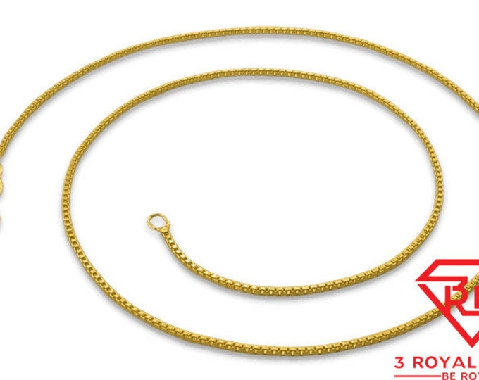 """Italian 14k yellow gold layered over .925 sterling silver - 1 mm box chain -16 """""""