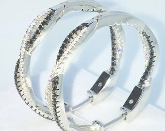 Brand New White Gold on 925 Solid Sterling Silver White and Black round CZ Intertwined Double hoop Earrings ( 29 . 4 mm )