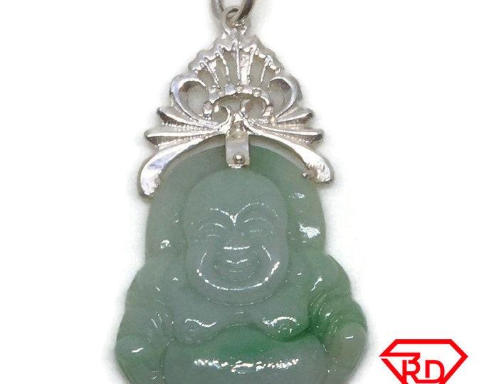 Medium Fat Happy Buddha Budai Jade Pendant 925 silver