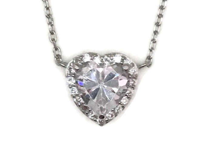 White Gold layer Silver Pendant Heart shape & white round heart CZ