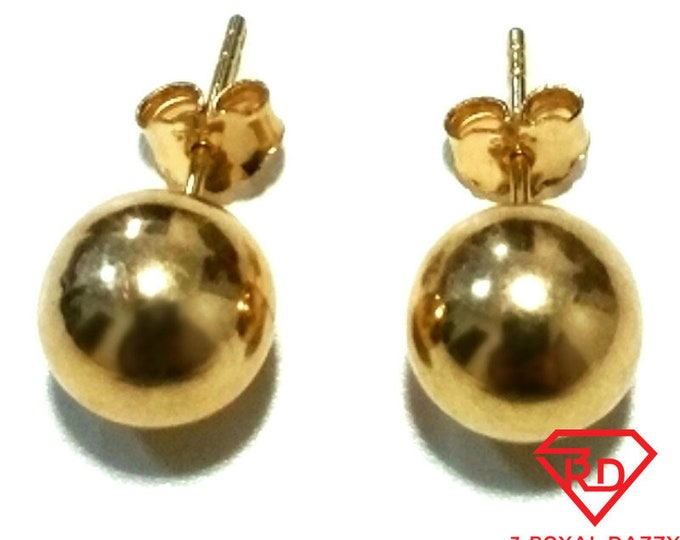 14k Yellow gold layer on 925 Sterling Silver 10 mm Full Round Ball Stud Earrings