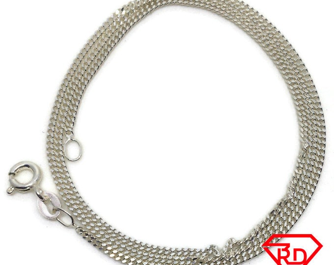 Extra Thin curb Chain 16 inch Necklace 925 Solid Silver