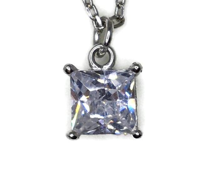 4 prong basket white princess CZ White Gold layer Silver necklace