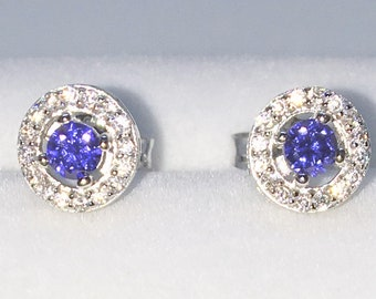 Brand New White Gold on 925 Solid Sterling Silver Round shape with white round CZ and Blue CZ center studs Earrings ( 6 . 8 mm )