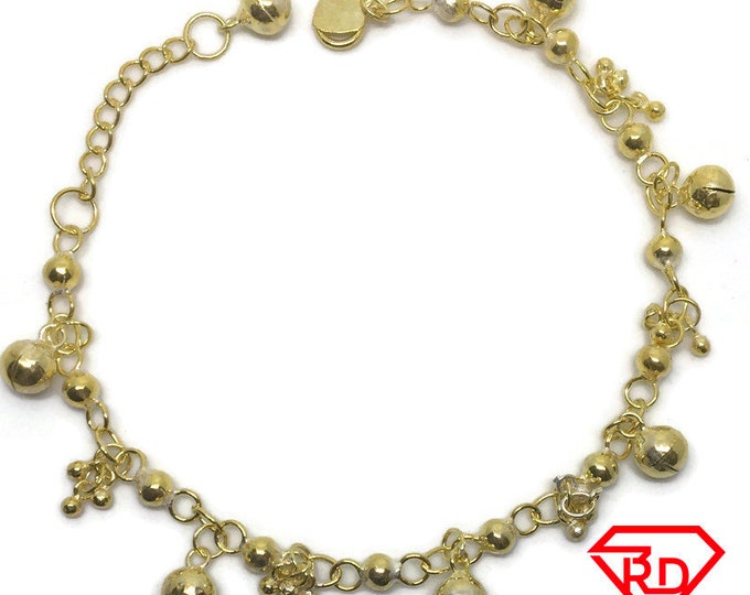 Bell & Spheres charm 8 inch Bracelet 999 Yellow Gold Layer