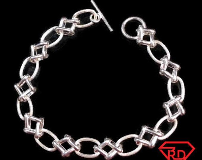 """New solid sterling 925 silver italian fancy cable link women bracelet 8.5mm-8.5"""""""