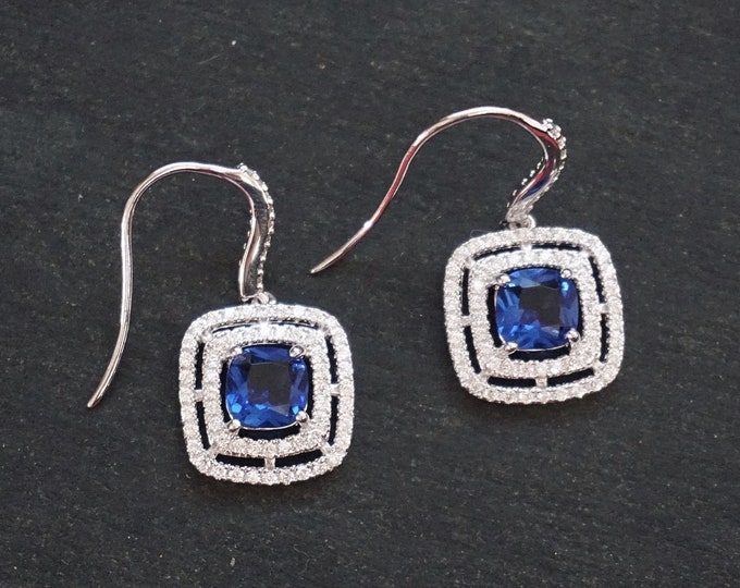 New 14k White Gold on 925 Sterling Silver Three Layer Blue CZ Drop Earrings ( 1 4 . 8  mm )