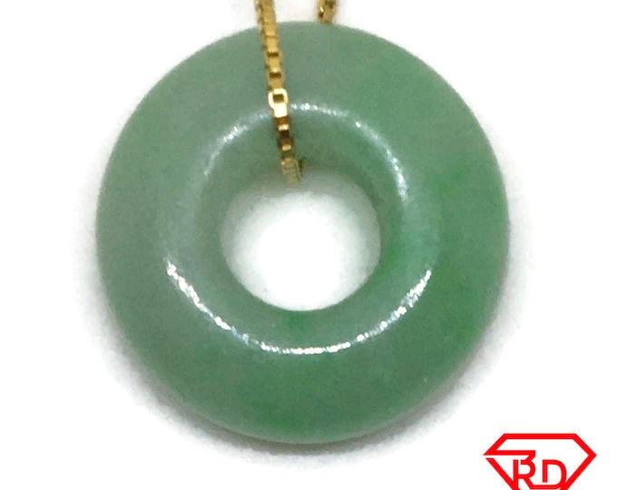Bulky Small Smooth plain Round Green Jade Pendant Charm