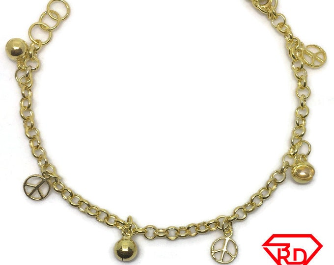 Bell & peace charm 7 inch Bracelet 999 Yellow Gold Layer