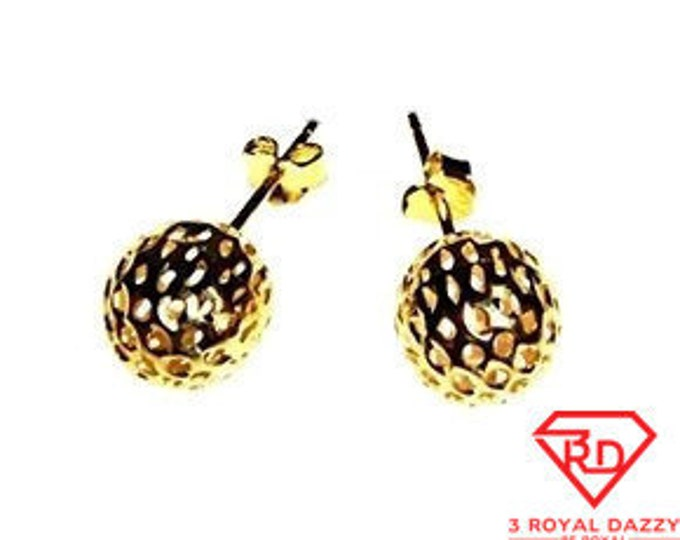 9mm Round Hollow Shiny Diamond Cut Ball Earring 14k Yellow Gold Layered On .925 Silver