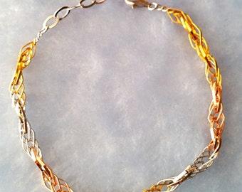 14k Tri Color Gold Layer on 925 Sterling Silver Fancy Intertwine Bracelet