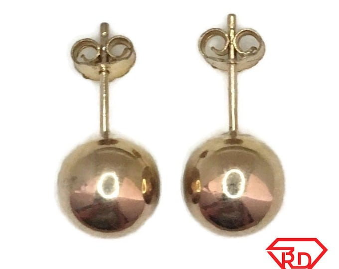 Brand New Yellow gold on 925 Silver Studs Earrings medium smooth sphere ball ( 10 . 1 mm )