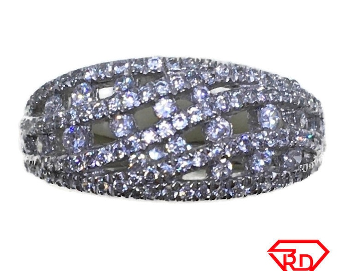 Net style round CZ Ring 14k white gold on Silver (size 7)