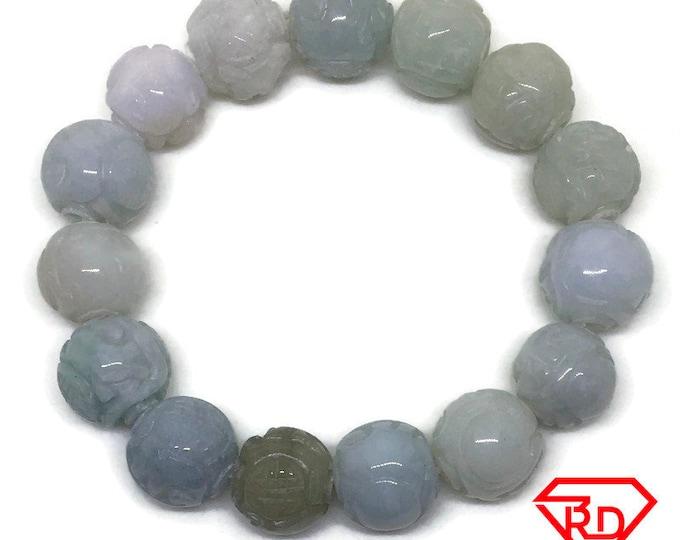 Round beads green Jade chinese Elastic Bracelet
