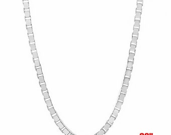 Italian 14k white gold layered over Solid .925 sterling silver -Box Chain- 1.5 mm- 28""