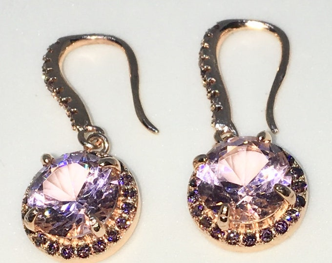 New 14k Pink Gold on 925 Sterling Silver Round Rose CZ Dangle Drop Hook Earrings ( 10 . 2  mm )