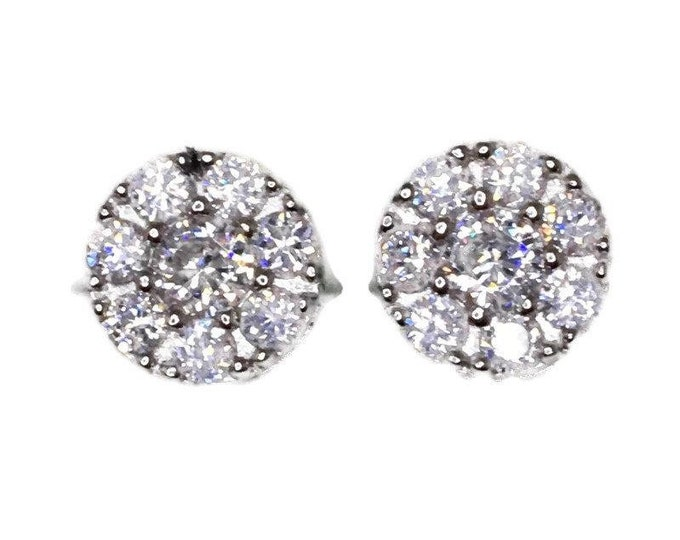 New white gold on 925 silver studs earrings circle design