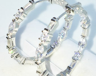 Brand New White Gold on 925 Solid Sterling Silver white round, emerald, Marquise CZ medium hoop Earrings ( 30 . 0 mm )