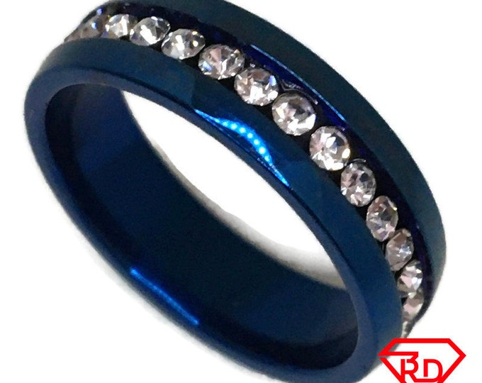 White Cubic Zirconia Ring blue gold on Steel (size 8)