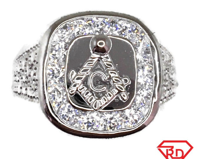 Masonic ring Cubic Zirconia white gold on Silver ( size 11 . 75 )