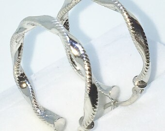 Brand New White Gold on 925 Solid Sterling Silver Plain Full Twisted Ribbon Hoop Earrings (24 . 8  mm )