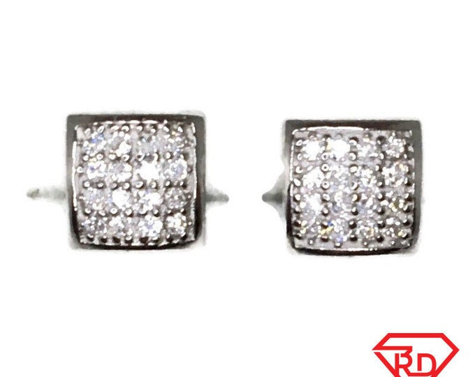 Brand New white gold on 925 Silver Studs Earrings Small Bulgy Square with white round CZ ( 6 . 5 mm )