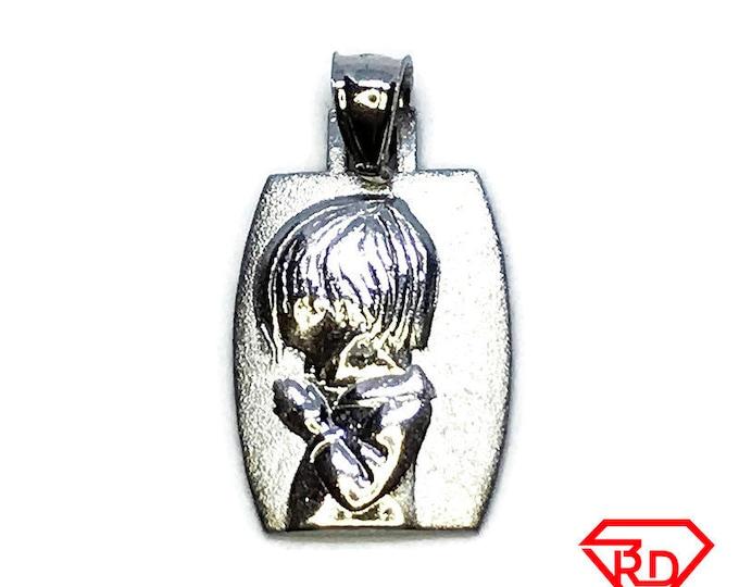 NEW 14K White Gold Layered on .925 Sterling Silver Kid Praying Pendant