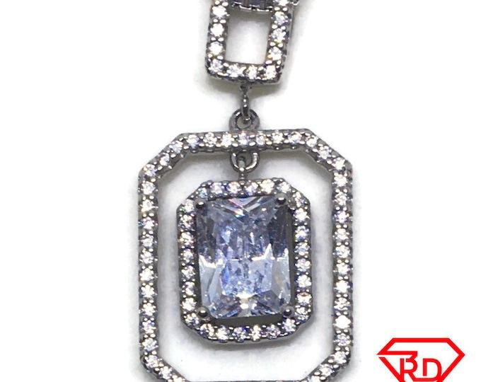 Dangling Emerald white CZ pendant white gold Layer