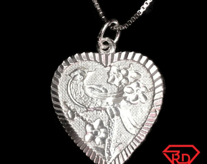 New Handcrafted 925 Silver Chinese Phoenix & Flower Heart Charm Pendant Reversible Design