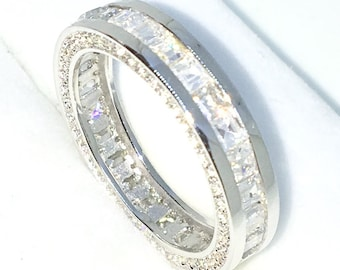New Handcraft White Gold Plated on Sterling Silver eternity ring band with princess square white CZ