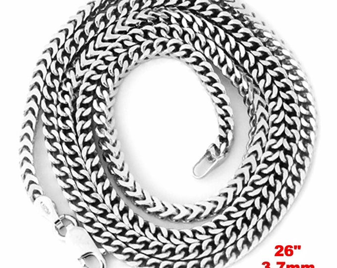 """14k White gold Layer on Heavy 925 Solid Sterling Silver Square Franco Chain- 3.7 mm - 26"""""""