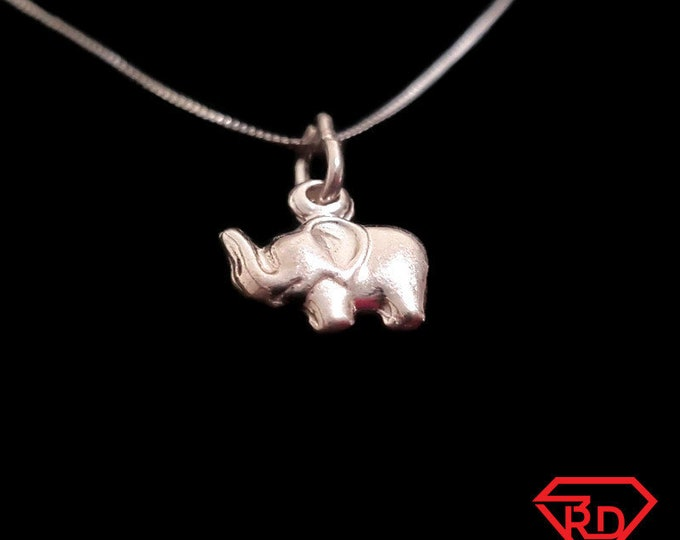 Anti Tarnished 925 Small Sterling Silver Elephant Charm Pendant with free chain