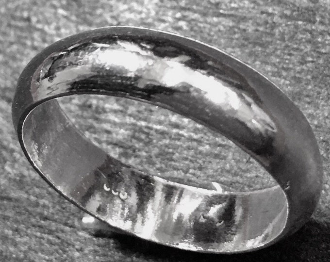 Handmade solid 990 Silver high polished glossy plain wedding Ring Band 6.5mm Size 14