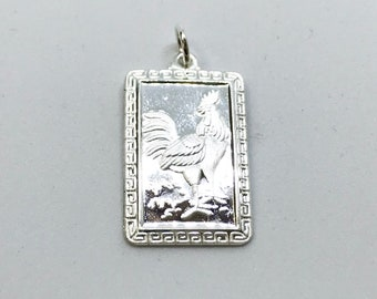 NEW .990 Sterling Silver Year of the Rooster Rectangular Lucky Pendant