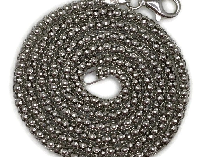 popcorn chain Necklace 18 inch white gold on silver