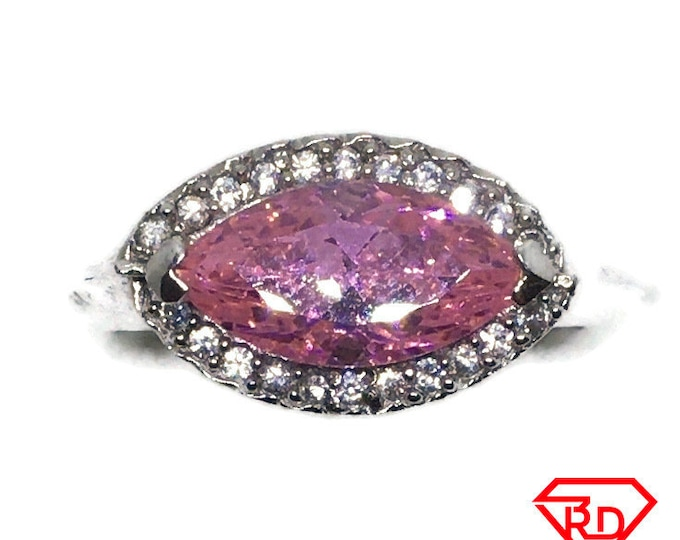 Pink Marquise CZ White gold on silver Ring S8