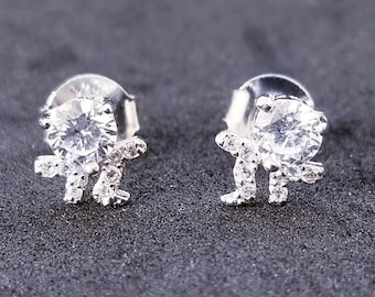 New 14K White Gold on 925 Sterling Silver Little Dancing Person