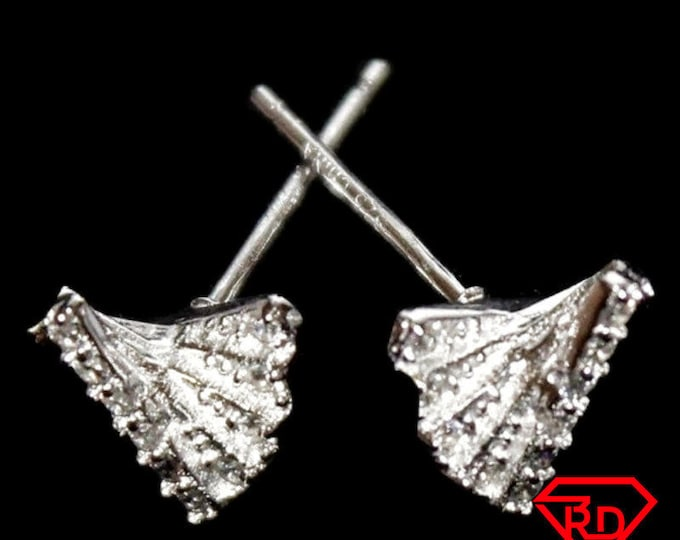 14k White Gold Layer on 925 Silver Twisted Earring
