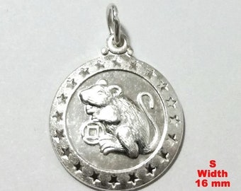 Small chinese zodiac horoscope 999 fine silver round year of rat pendant charm
