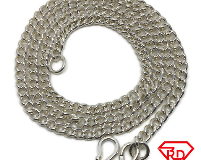 curb Chain 20 inch Necklace 925 Solid Silver