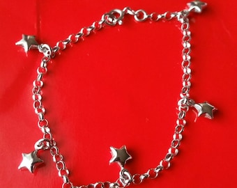 18k white gold layer on Solid 925 Sterling Silver dangling hollow stars charms bracelet