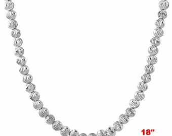 """18k w gold layered over .925 sterling silver moon cut Beaded chain 3 mm 18 """""""