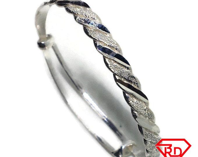 Twisted Baby Toddler Bangle Bracelet 925 Silver