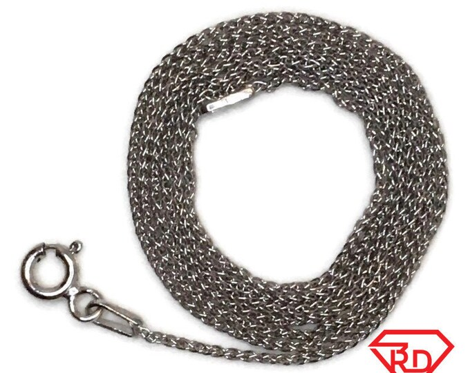 Brand New White Gold on 925 Sterling Silver Necklace 20 inch Thin Cable Chain with Springring Clasp ( 0 . 6 mm  )
