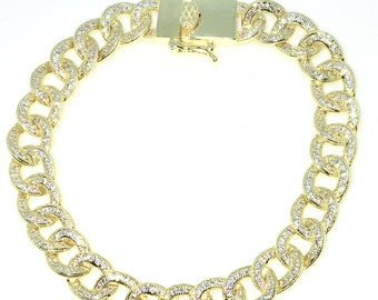 New Gold Layered 925 Solid Sterling Silver 8 inch Large Curb Chain tiny white CZ Bracelet with Box clasp