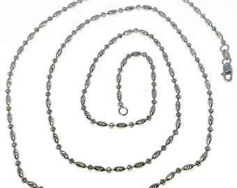 Brand New White Gold on 925 Solid Sterling Silver 24 inch Diamond cut Oval and round Bead Necklace with Lobster Claw Clasp