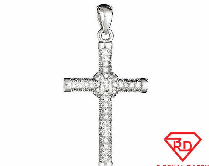 Shiny Cross Pendant Micro Pave CZ .925 Sterling Silver